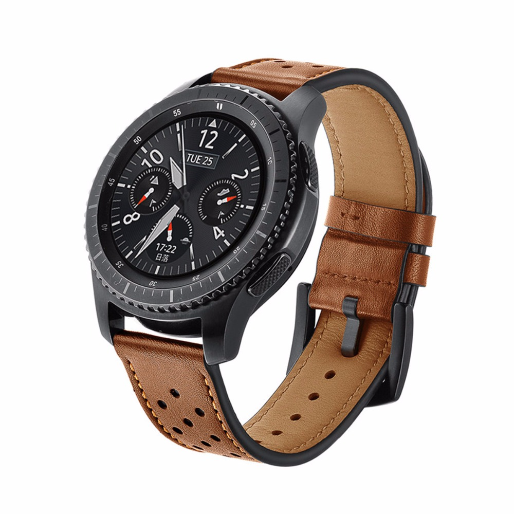 Gear S3 Frontier For Samsung galaxy watch 46mm Genuine Leather strap smart watch accessories watchband Retro bracelet 22mm in Watchbands from Watches