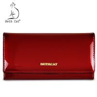 Beth Cat Women Wallets Genuine Leather Wallet Female Hasp Long Purses Solid High Quality Caeds Hoder