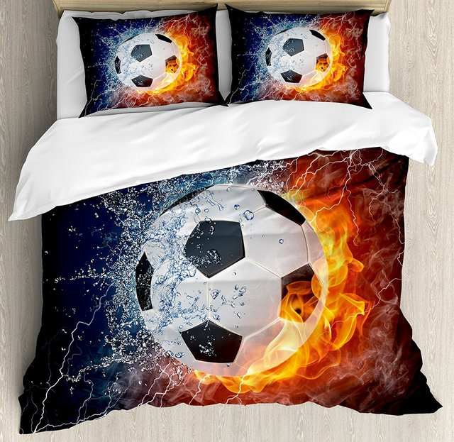 Sports Decor Duvet Cover Set Soccer Ball On Fire And Water Flame Splashing Thunder Lightning Abstract