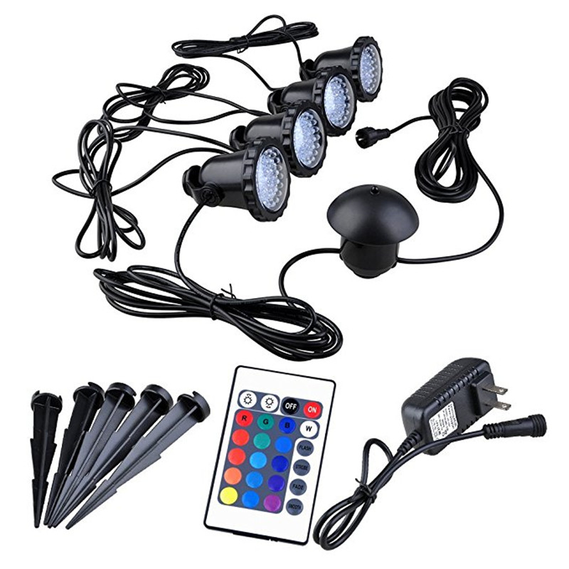 4 lights in 1 RGB LED Submarine Spot Lights IP68 Waterproof Fish Tank Light with Remote