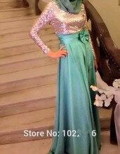 2016 Muslim Evening Dresses Sheath Long Sleeves Squins Chiffon Scarf Islamic Dubai Abaya Kaftan Long Evening Gown Prom Dress