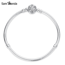 Authentic 925 Sterling Silver Charms Beads Bracelet Snowflake Clip Crystal Snake Chain Basic Bracelets Pan DIY Bangles Jewelry