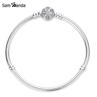 Authentic 925 Sterling Silver Charm Engrave Snowflake Clip Clear Crystal Snake Chain Basic Bracelets Fit Pan