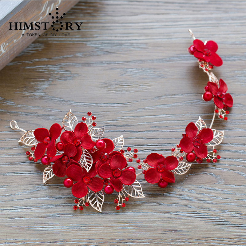 Retro Red Floral Flower Leaf Hairbands ,Bridal Wedding Flower Headpiece Hair Accessory