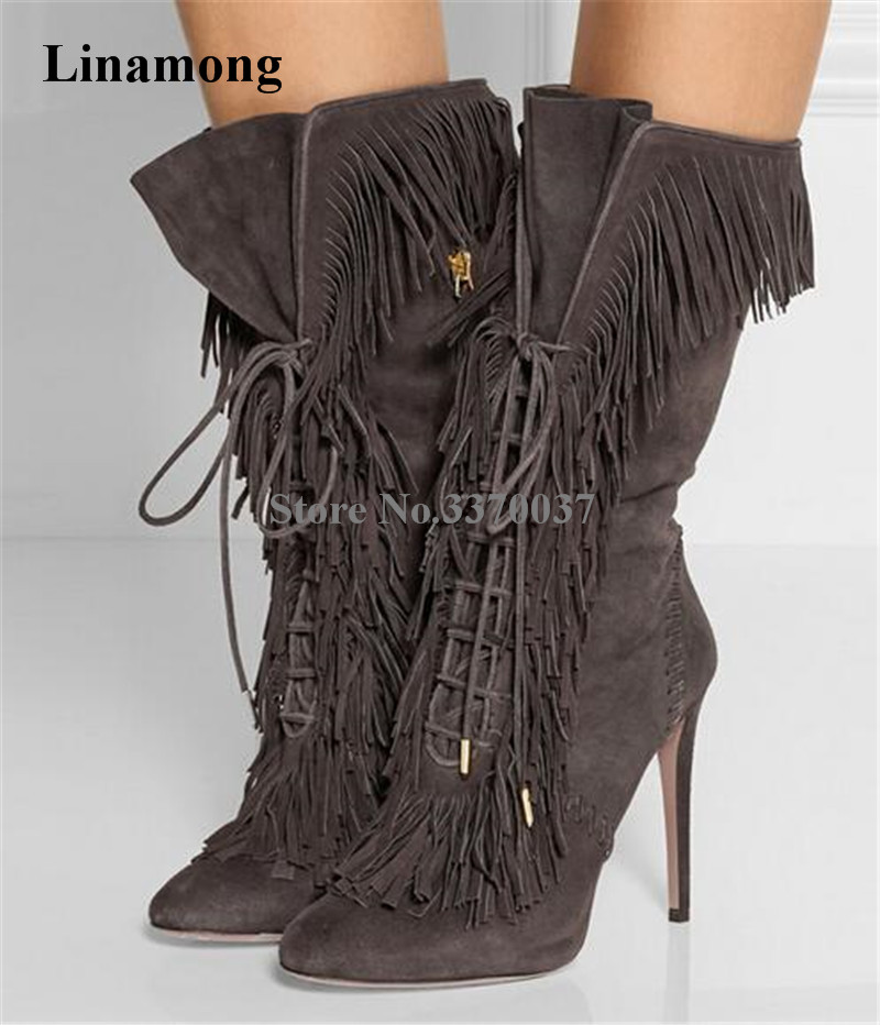 New Fashion Women Pointed Toe Suede Mid-calf Tassels Short High Heel Gladiator Boots Lace-up Fringed Thin Heel Bootes laconic women s mid calf boots with lace up and chunky heel design
