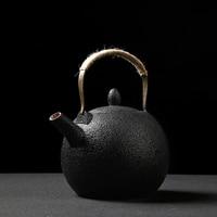 TANGPIN big capacity black crockery ceramic teapot with stainless steel filters coffee tea sets porcelain tea pot 2000ml