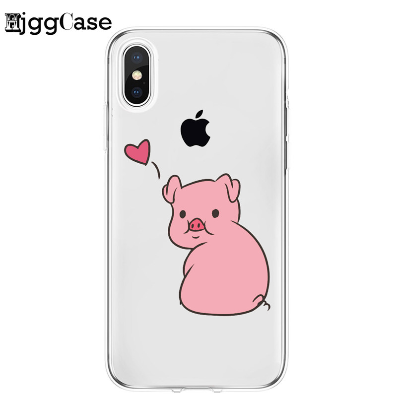 Pink Pig Clear Soft Silicone Phone Skin Coque Phone Case For iPhone11 Pro Max 10