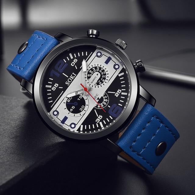 Men's watch Couple Leather Band Analog Quartz Round Business Wrist Watch Man watches mens 2019 relogios masculinos