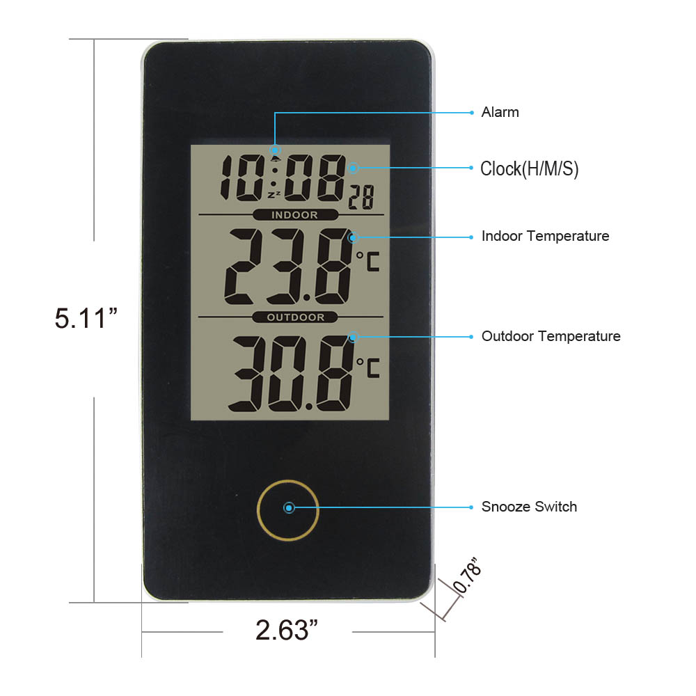 New Arrival Dykie Wireless Weather Station Black With Indoor Outdoor Thermometer Monitor Digital Alarm Clock For Home Office In Temperature Instruments From