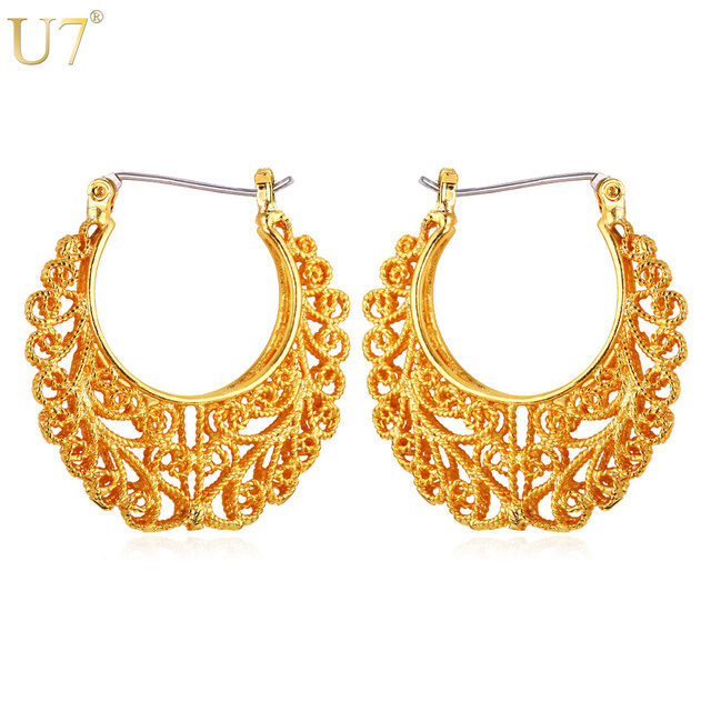 U7 Vintage Hollow Earrings Gold Color Fashion Chic Jewelry Party Round Huggie Hoop Earrings for Women Gift Sale E360