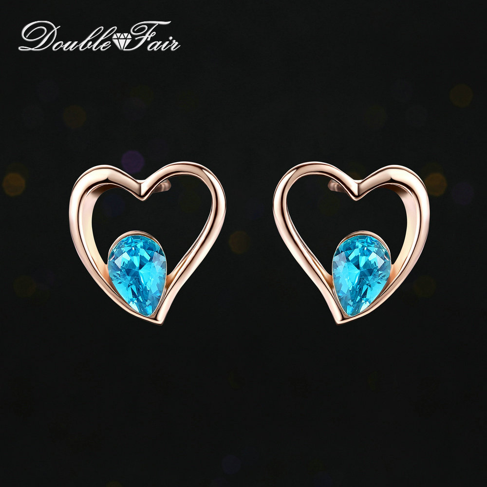 Double Fair Blue Heart CZ Stone Stud Earrings Rose Gold Color Fashion Crystal Earrings Jewelry For Women Wedding Party DFE318