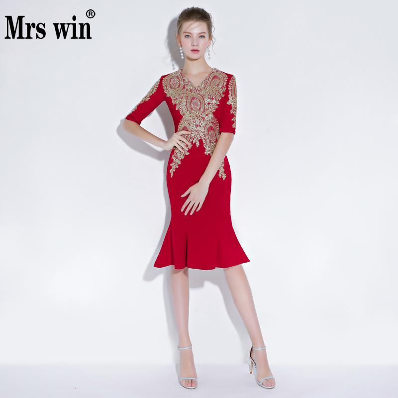 Vestido De Festa 2018 New The Red Sexy V-neck Elegant Mermaid Half Sleeve Vintage Party Prom Formal Evening Dresses F