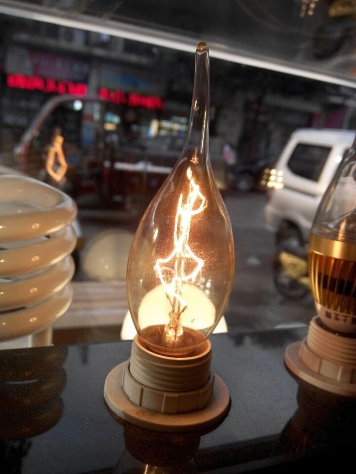 10 TEILE/LOS E14 pull schwanz lampe kerzenlampen Edison retro wolfram kohlenstoff filament...