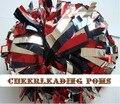 "cheerleading Pom poms 3/4""x 6""~custom color metallic silver black and metallic red handmade new hot sale mini order 10 pieces"