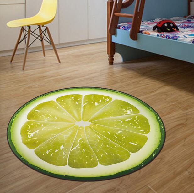 NEW 3D Fruit Round Area Rugs Round Carpet Kids Room Bathing Rug Bedroom Mat Non-slip 60*60 80*80 100*100 Computer Mat