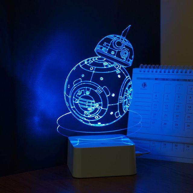 Usb novidade 3D de noite para crianças robô de Star Wars BB-8 Lampara de toque escurecimento lâmpada de mesa , presente criativo