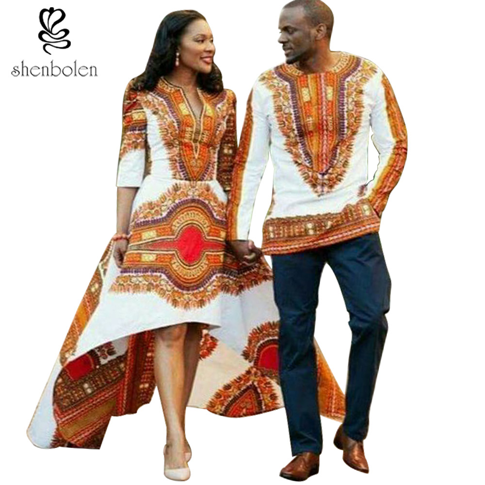 shenbolen 2018 summer fashion african dresses for women African dashiki batik prints men's tops lady Couples dress for girl boy