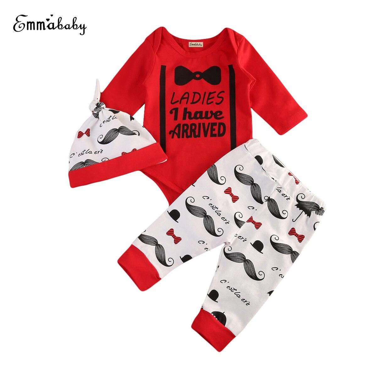 Christmas Newborn Kid Baby Boy Clothes Gentleman COOL Romper Coat Tops +Long Pants Hat 3Pcs Outfit Clothes