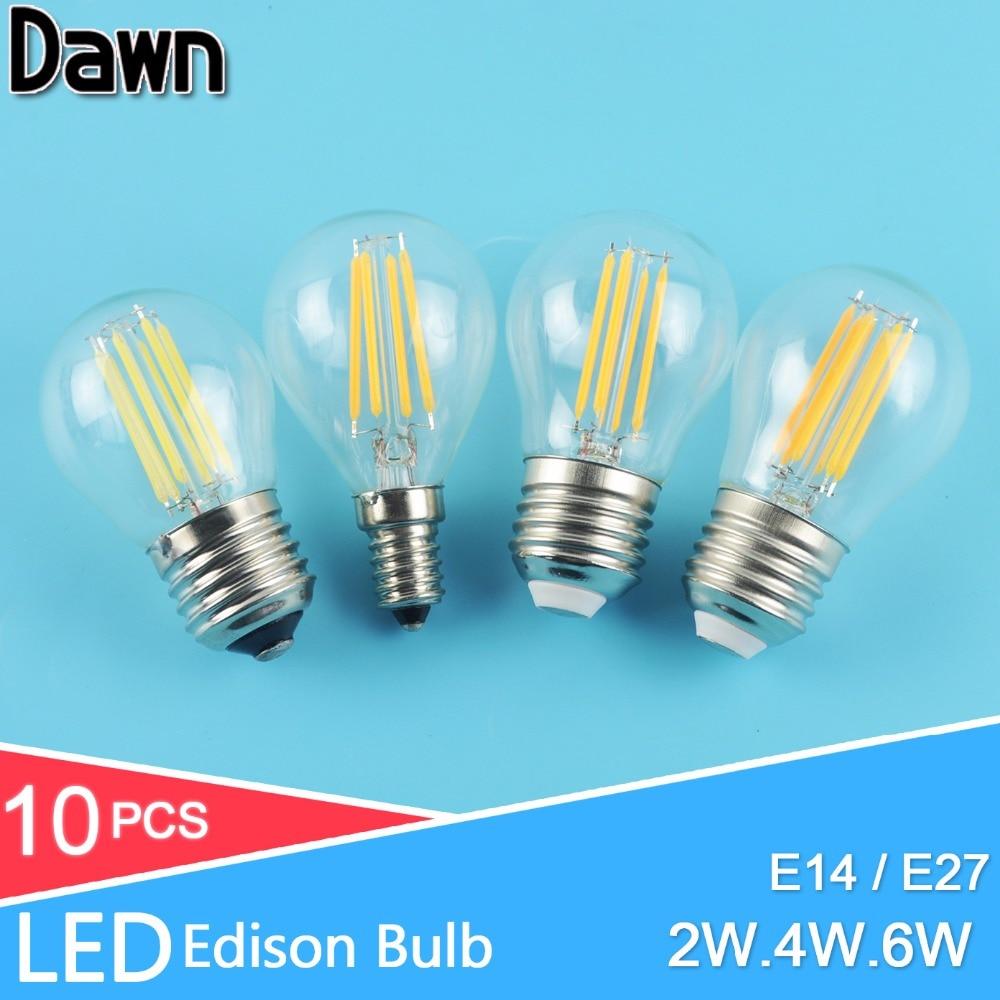 10PCS led bulb E27 E14 2W 4W 6W G45 AC 220V 240V COB LED Glass Ball Bulb Edison lamp Antique Retro Vintage Led Filament Light