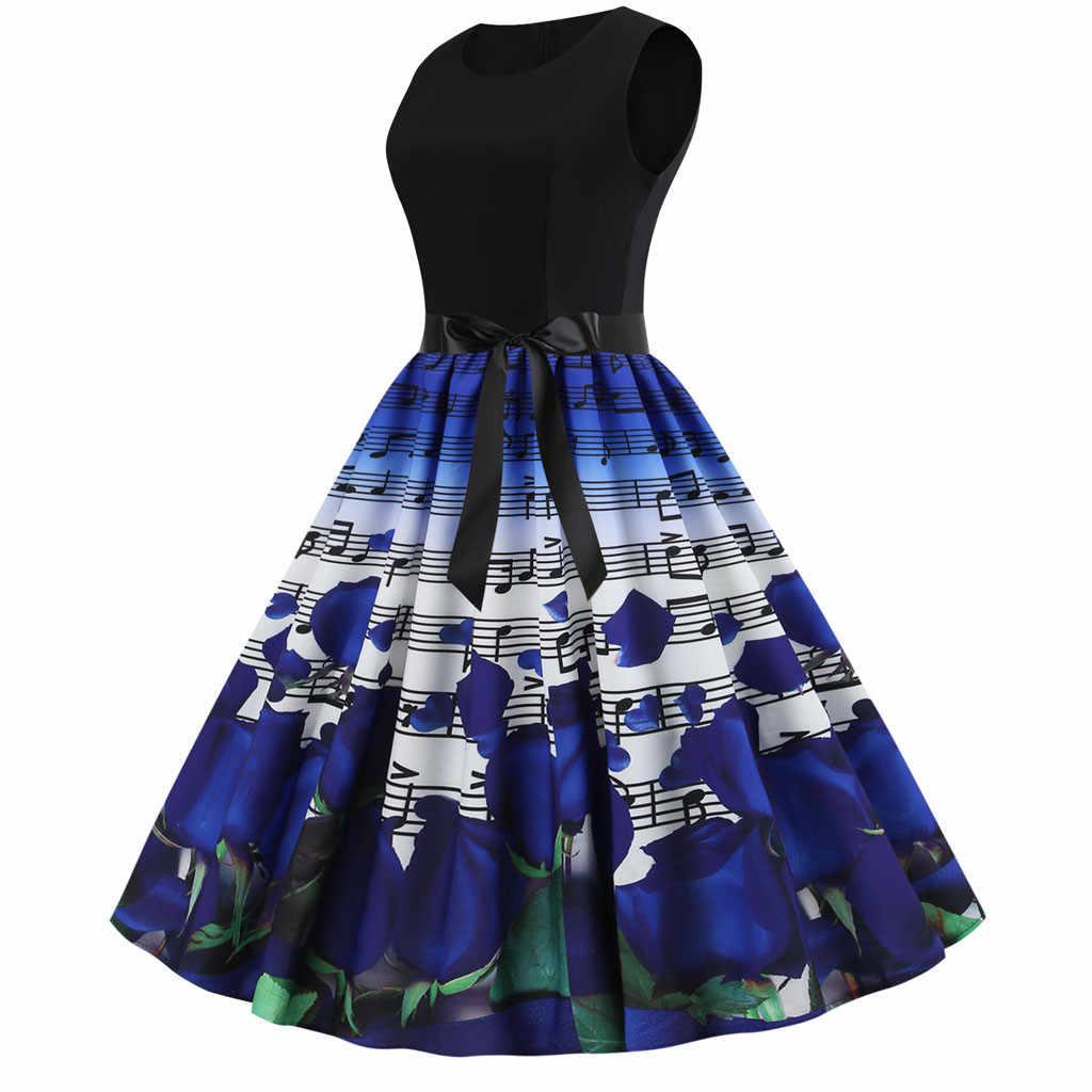 2019 летние современные женские винтажные Качели 50s домохозяйка Повседневная Женская милая принцесса вечернее платье для женщин