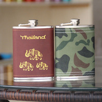8oz Hot Stamping Elephant Mini Whisky Hip Flask Outdoor Carry Small Flagon High Grade Stainless Steel