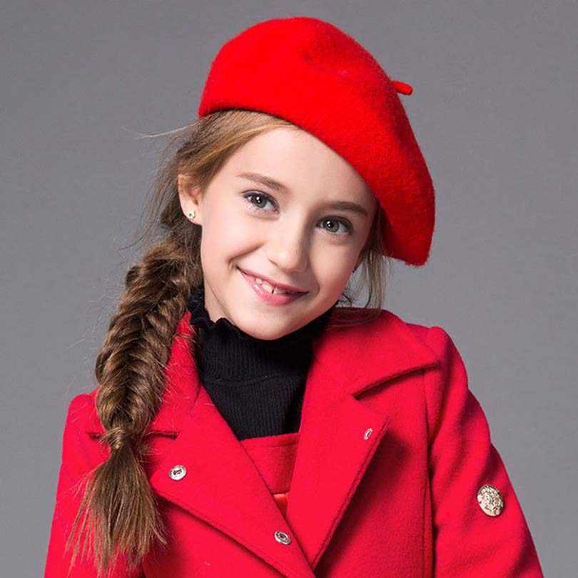Новые осенние модные однотонные теплые береты для детей, зимние тонкие шерстяные береты для девочек Красная Шапка-бини