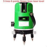 Инструмент для маркировки 5 линий 6 точек зеленый свет лазерный уровень инфракрасный лазер 360 градусов Поворотный крест лазерные строительн