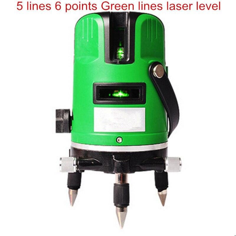 Маркировки инструмент 5 линий 6 очков Зеленый Свет лазерный уровень инфракрасный лазерный 360 градусов Поворотный крест лазерный строительн