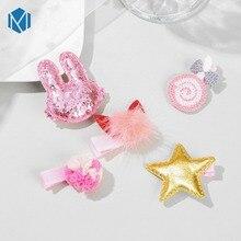 New Arrival 5pcs/Set Cartoon Headwear Set Hair Clip For Children Girls Handmade Hairgrips Rabbit Star Headdress Accessories