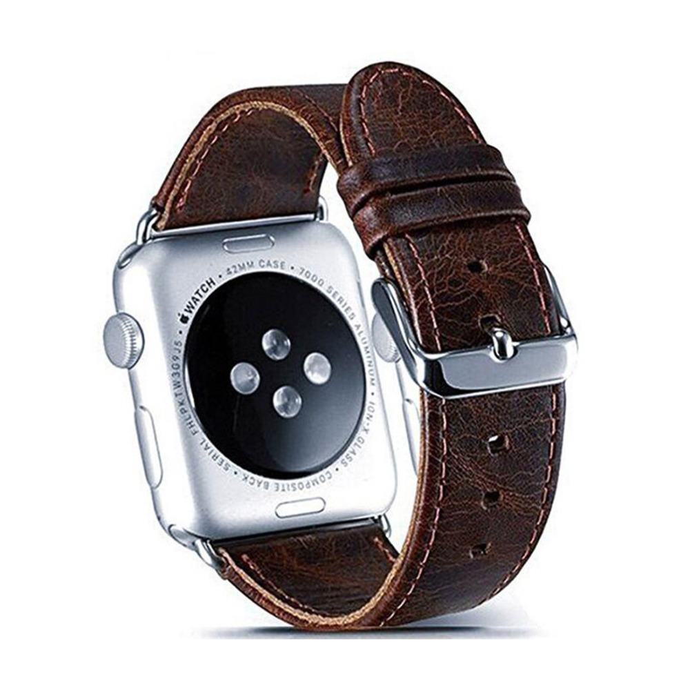 CRESTED Genuine Leather strap For Apple Watch band 42mm(44mm)/38mm(40mm) iwatch 4 3 2 1 Crazy horse wrist bracelet watchband crested crazy horse strap for apple watch band 42mm 38mm iwatch series 3 2 1 leather straps wrist bands watchband bracelet belt