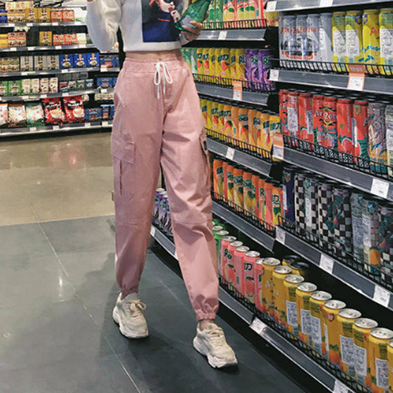 Cotton High Waist Cargo Pants 2019 Spring Pink Khaki Black Female Trousers 70
