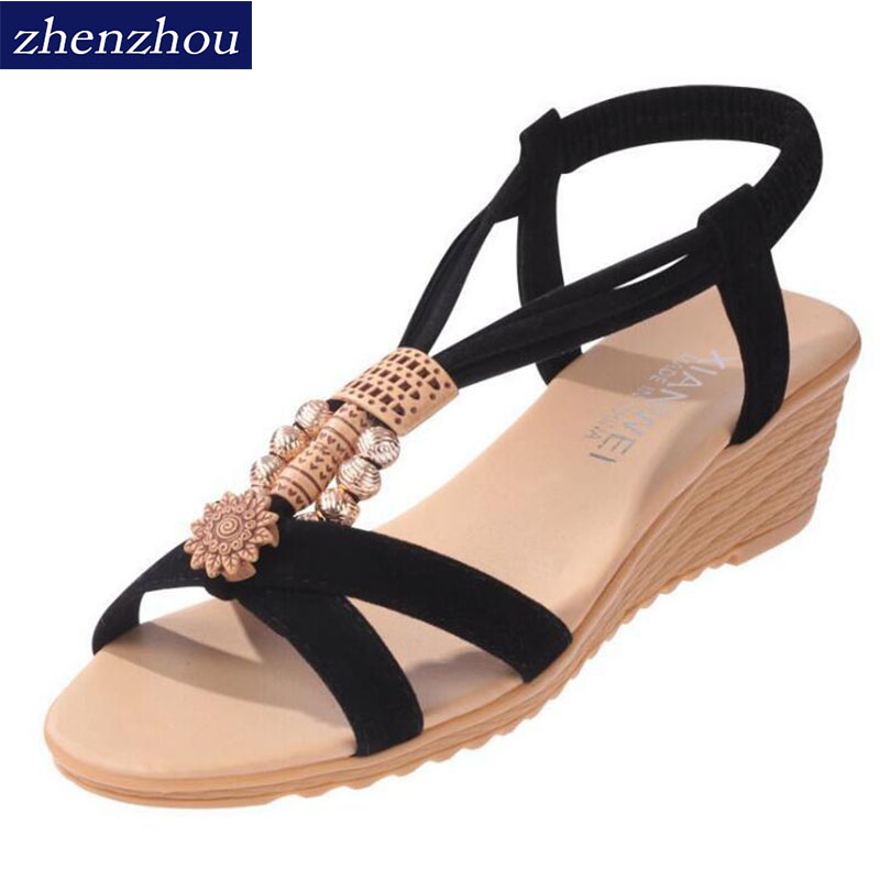 Sandal women's new 2017 summer. Bohemia wedge Fish mouth sandals Beaded foreign trade women's shoes. Big yards