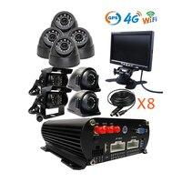 Free Shipping 8CH GPS 4G WIFI 1080P AHD HDD Car DVR Video Recorder Kit 8 pcs Rear Side Front View 2MP Car Camera 7 VGA Monitor