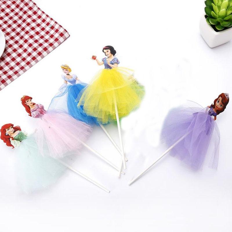 5 Pcs/set Cartoon Sofia/Snow White/Cinderella/Mermaid Princess Cupcake Toppers Yarn Skirt Cake Decoration Girl's Birthday Gifts