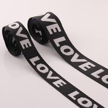 5Yards 25/38mm width Nylon Jacquard Webbing LOVE Pattern Tape Ribbon Belt DIY Bag Shoulder Strap Garment Decor Accessories