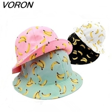 663a63cb7b9 VORON New pesca Fashion Lovely Summer Cotton Banana Printed Bucket Hats Caps  For Women Girls