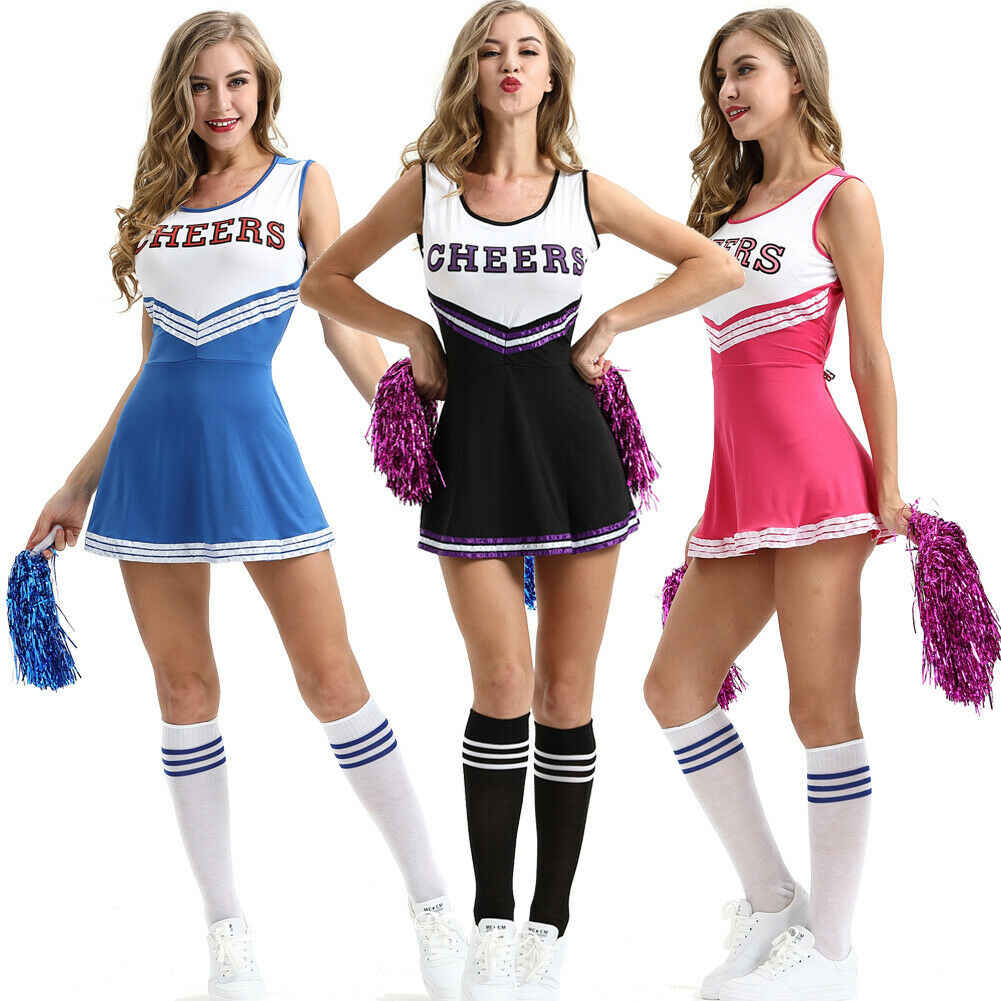 Cheerleader Fancy Dress High School Girls Sports Outfit Costume Poms Multicolor