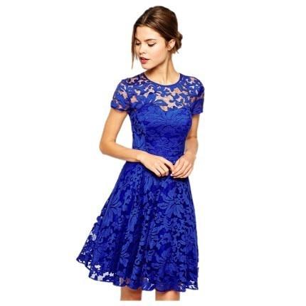 e4c03d28da1 womens casual dresses 2016 new arrival vestidos femininos Royal Blue Fairy  Lace Skater Dress mini dress sexy club wear 22007