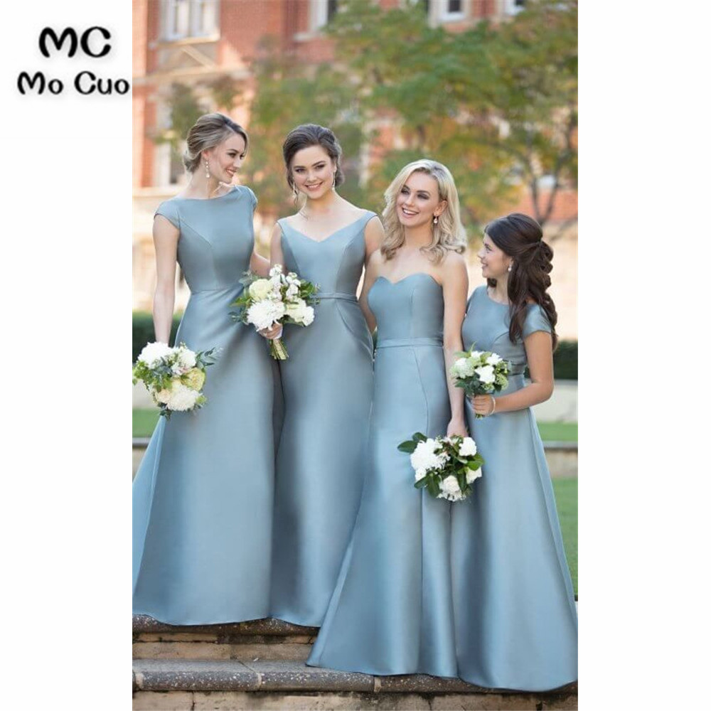 2019 Simple Mermaid   Bridesmaid     Dress   Long ABCD Style Satin Wedding Party Long Formal   Bridesmaid     Dresses   for women