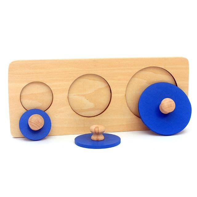Casa Dental Montessori materiales para la enseñanza juguetes de madera formas geométricas Insets 3 juegos azul múltiples perillas cuadradas juguetes de matemáticas