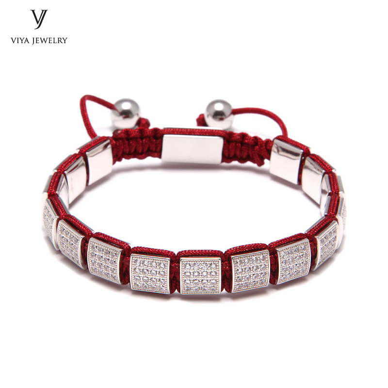 Luxury Red Rope Macrame Bracelet With Pave Setting Square Beads Handmade Colorful Rope Bracelet Best Men Gift Has Jewelry Box