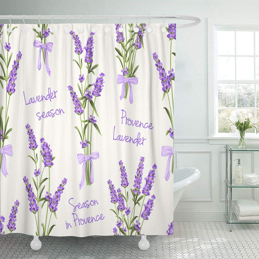 Us 16 01 40 Off Fabric Shower Curtain Blue Rose Of Lavender Flowers On White Watercolor Pattern With Swatch Green Vintage Bathroom Curtains In