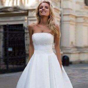 Image 3 - Satin a ligne robes de mariée 2019 perles dos nu robes de mariée Court Train bretelles Vestidos de Noivas blanc sur mesure
