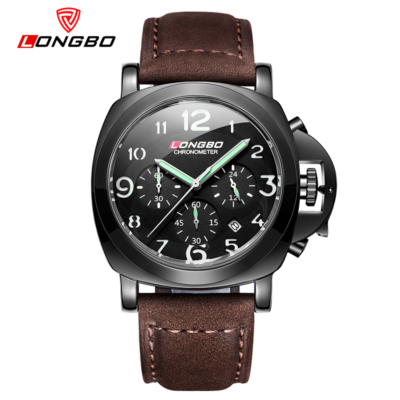 LongBo Brand Leather Strap Watch For Men Sport Quartz Watches with Date Big Luminous Dial Waterproof Masculino Orologio watchs clot big dial quartz watch with leather band for men