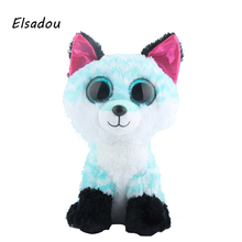 Elsadou Ty Beanie Boos Cute Animals 25cm Plus Size Sky Blue Fox Plush font b Toy