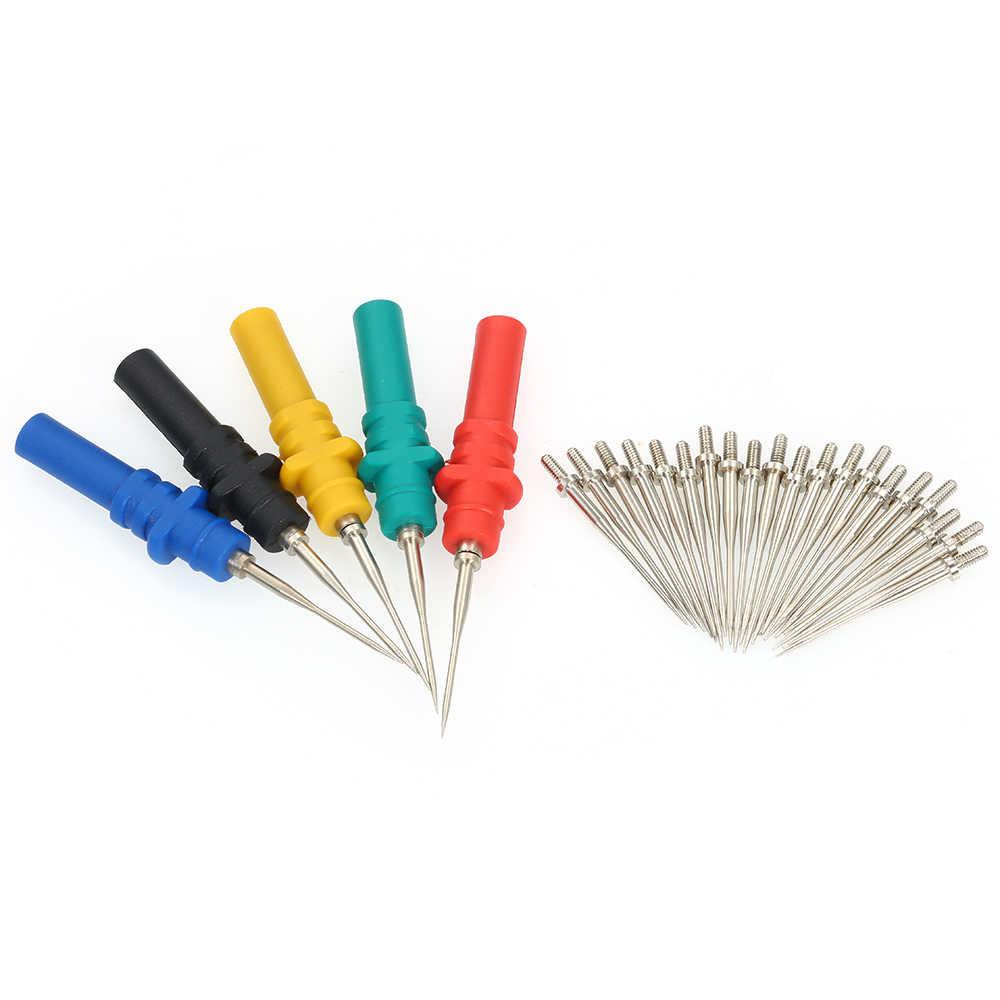 5 osiloskop Probu Pimleri Seti 20 Değiştirme Iğneleri Test Pimi Geri Sabitleme Piercing Tamir Edilebilir Probları Iğne Araba için