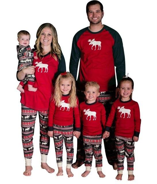 eeb6ec0d4 Christmas Family Matching Pajamas Set Deer Adult Women Kids ...