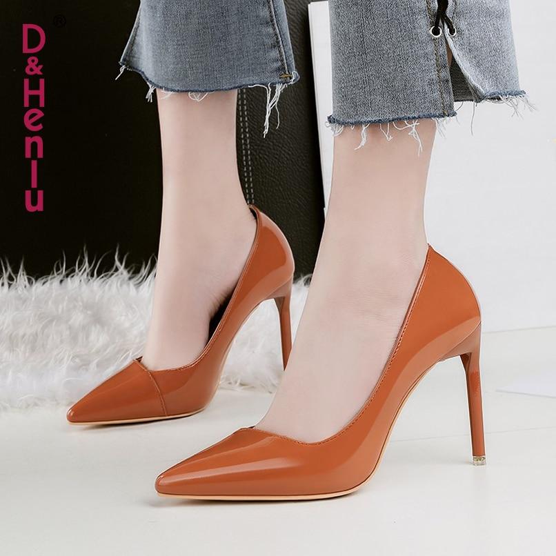 Señoras Del Cuero Stiletto Mujer Zapatos desnuda púrpura Dedo  d Punta Altos  De amp  Sapato Henlu  rojo Sexy marrón Patentes Tacones Negro Negro Bombas  ... a3296f3b5037