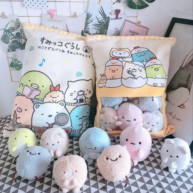 A Bag Of 8pcs Snack Puddiing Soft Plush Toy Bear Cat Monster Plush Pillow Creative Anime Throw Pillow Cartoon Doll Toys For Kids