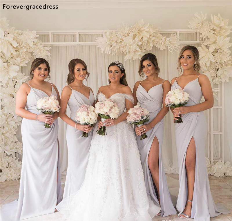 Boho   Bridesmaid     Dresses   2019 A Line Chiffon Summer Country Garden Wedding Party Guest Maid of Honor Gowns Plus Size Custom Made